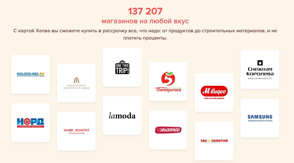 магазины партнеры Халва